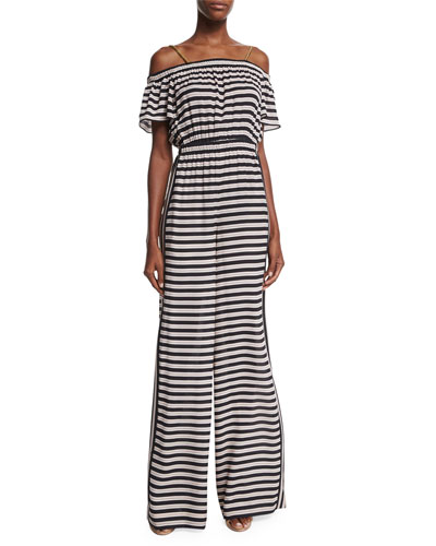 Clementine Wide-Leg Striped Jumpsuit, Black Stripe