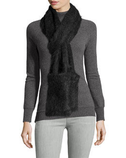 Mohair-Blend Scarf W/Pockets, Charcoal