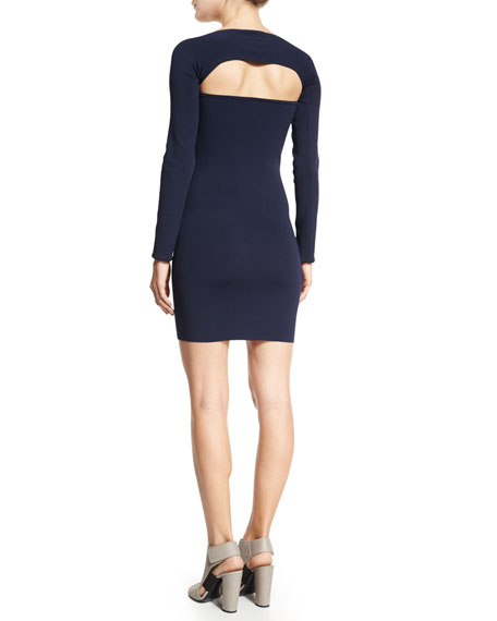 Image 3 of 3: Long-Sleeve Cutout Mini Dress, Marine