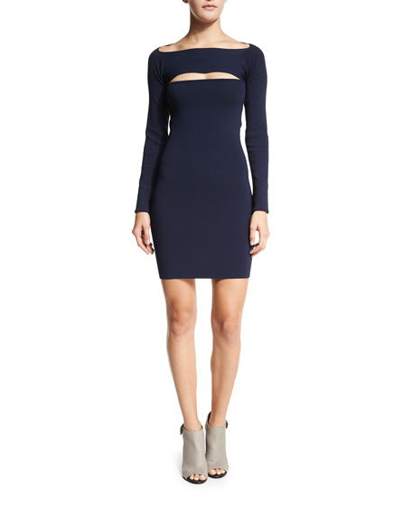Image 1 of 3: Long-Sleeve Cutout Mini Dress, Marine