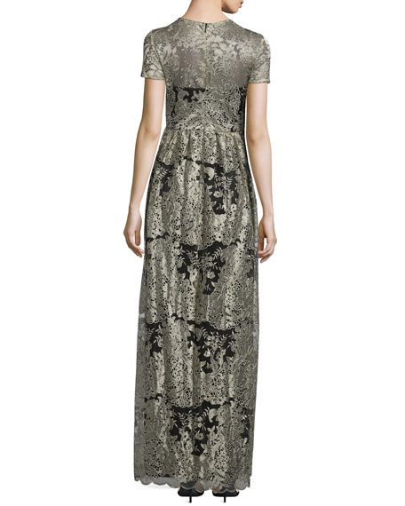 Short-Sleeve Floral Lace Gown