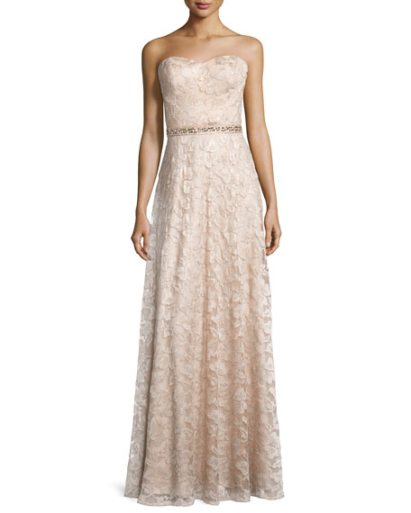 Aidan Mattox Sweetheart-Neck Strapless Lace Gown, Light Gold