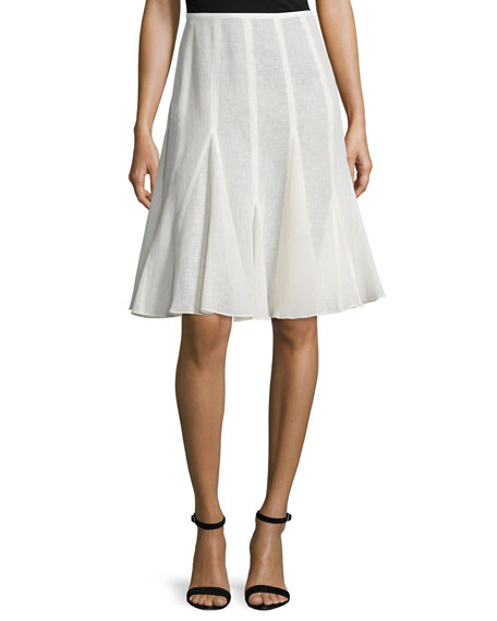 Michael Kors Collection Mid-Rise Linen Flirt Skirt, Ivory
