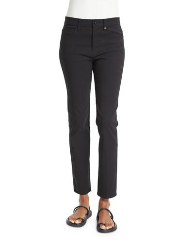 Skinny Mid-Rise Ankle Jeans, Black