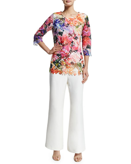 Silk Wide-Leg Pants, White, Plus Size