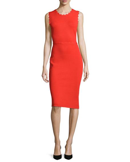 A.L.C. Aldridge Scalloped Sheath Dress, Red