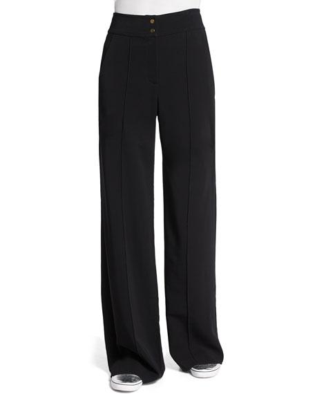 A.L.C. Debra High-Waist Wide-Leg Pants, Black