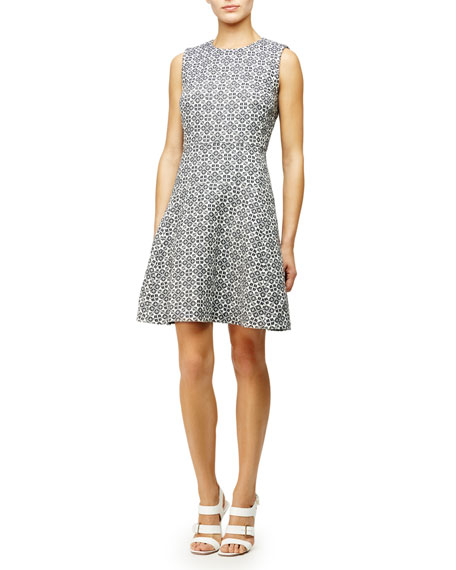 Tory Burch Textured Fit & Flare Dress