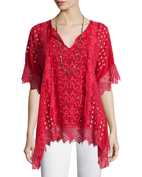 Johnny Was Collection Drapey Eyelet Tunic with Crochet Trim, Petite