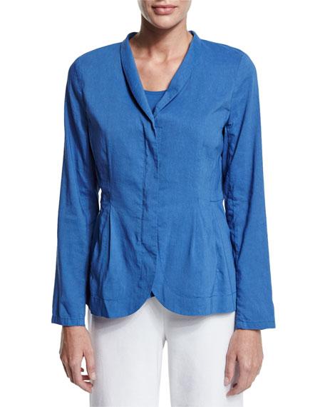Eileen Fisher Shawl-Collar Peplum Jacket, Blue, Petite