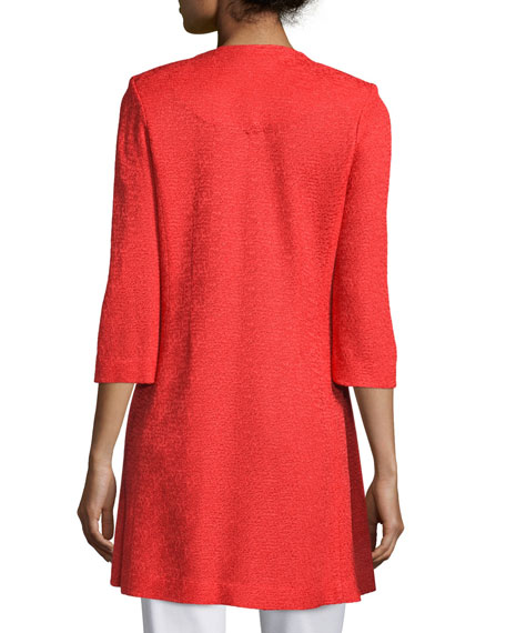 3/4-Sleeve Long Textured Jacket, Plus Size