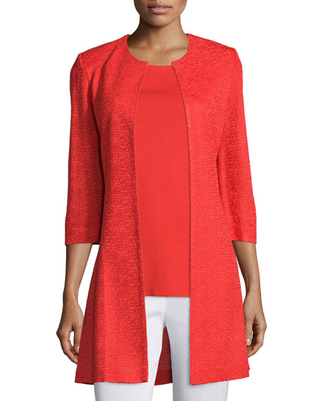 3/4-Sleeve Long Textured Jacket, Plus Size
