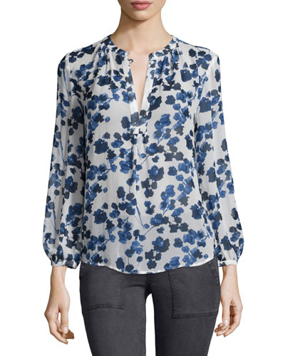 Joie Amaral Long-Sleeve Printed Top, Deep Chambray
