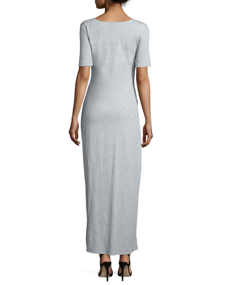 Short-Sleeve Ruched Jersey Maxi Dress