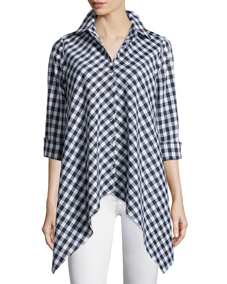 GO SILK Drama Gingham Handkerchief Shirt, Petite in Black/White