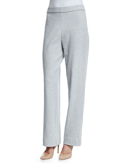 Joan Vass Stretch-Cotton Interlock Pants, Plus Size