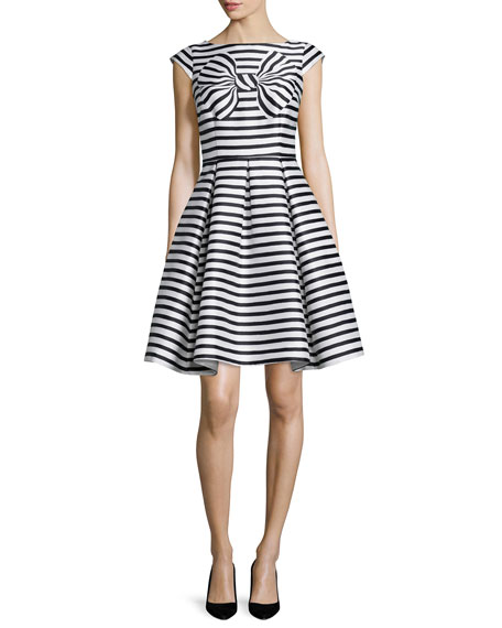 kate spade new york cap-sleeve striped dress with