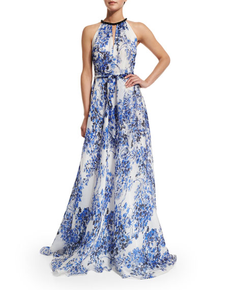 Carmen Marc ValvoSleeveless Halter Floral-Print Gown
