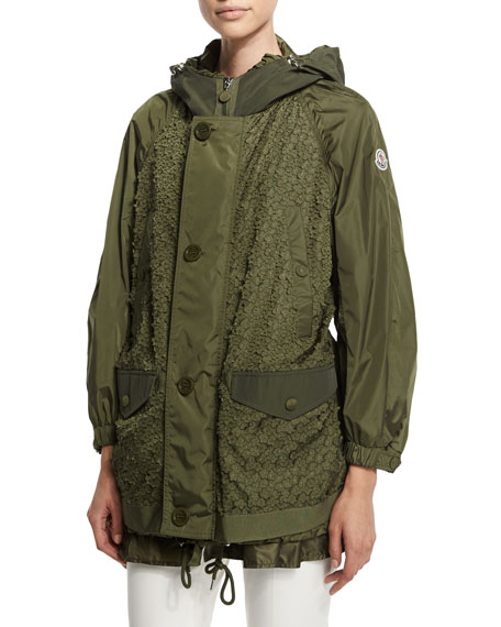 Moncler Fougere Oversized Floral-Applique Coat, Military