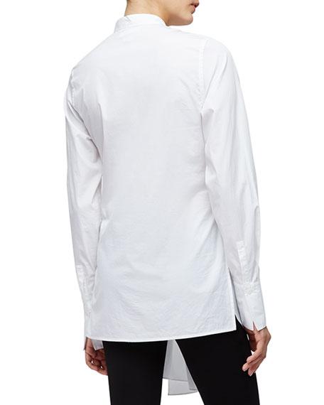 Long-Sleeve Cotton Side-Slit Blouse, White