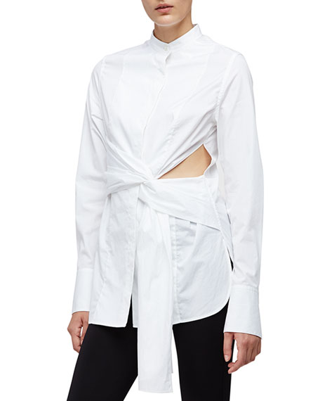 3.1 Phillip Lim Long-Sleeve Cotton Side-Slit Blouse, White