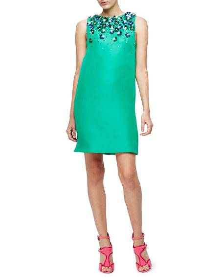 Sleeveless Floral-Embellished Shift Dress, Spring Green