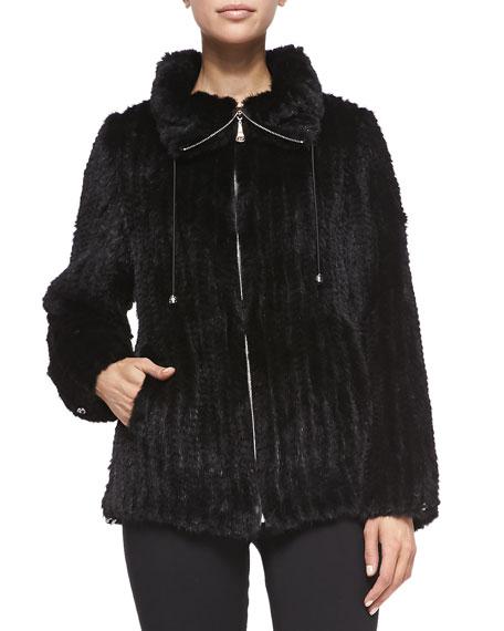 Belle Fare Knitted Mink Fur Bomber Jacket, Black