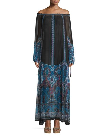 Calypso St. Barth Austrina Off-The-Shoulder Maxi Dress, Navy