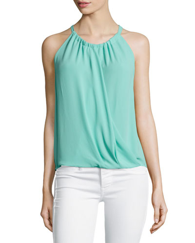 Cristine Wrap-Front Sleeveless Top