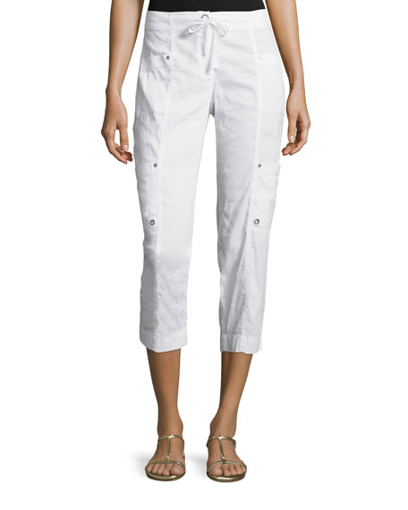 Eileen Fisher Drawstring Cropped Cargo Pants, White, Plus