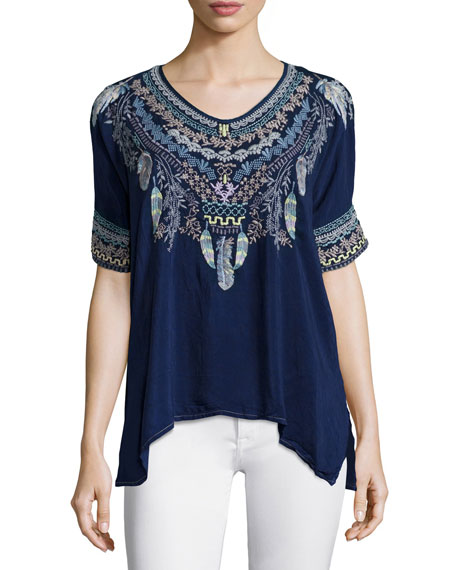 Johnny Was Collection Xander Short-Sleeve Embroidered Poncho Top