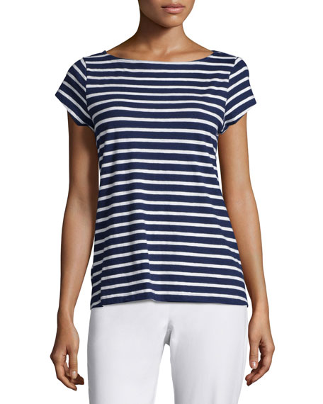Eileen Fisher Cap-Sleeve Striped Slubby Top, Midnight, Petite