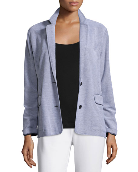 Joan Vass Two-Button Pique Boyfriend Jacket, Petite