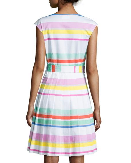 multicolored cape-stripe shirtwaist dress