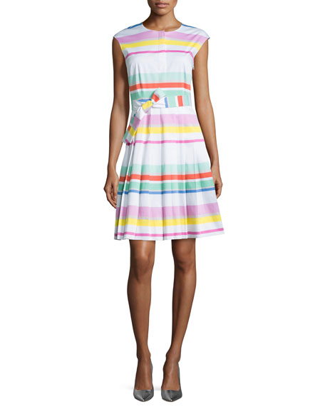 multicolored cape-stripe shirtwaist dress