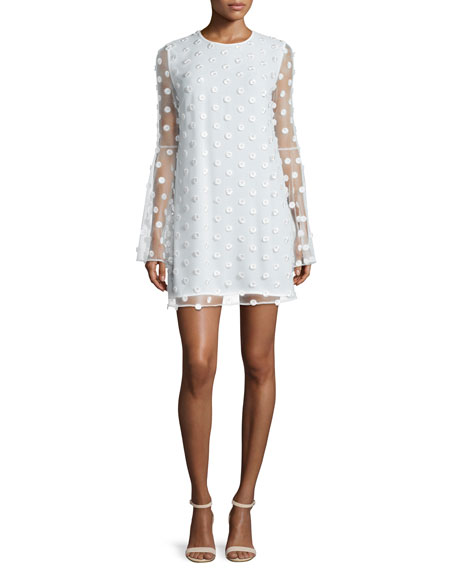 Camilla and Marc Bell-Sleeve Swiss Dot Cocktail Dress, Creme