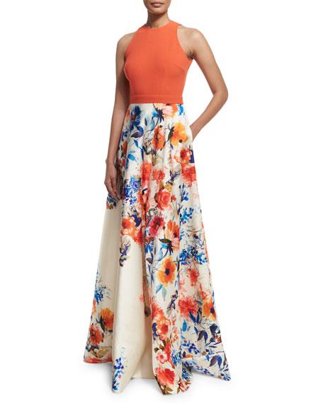 Carmen Marc ValvoSleeveless Halter-Neck Combo Gown, Orange