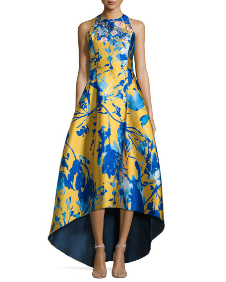 Sleeveless Floral Jacquard High-Low Gown