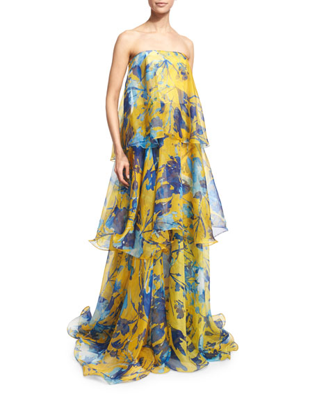 Floral-Print Sleeveless Tiered Organza Gown, Citrine