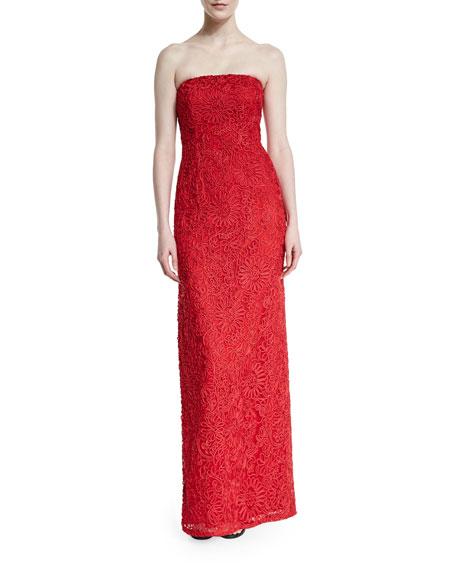 Strapless Soutache Column Gown, Red