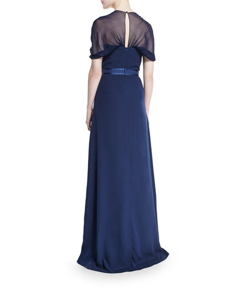 Short-Sleeve Butterfly-Back Gown, Navy