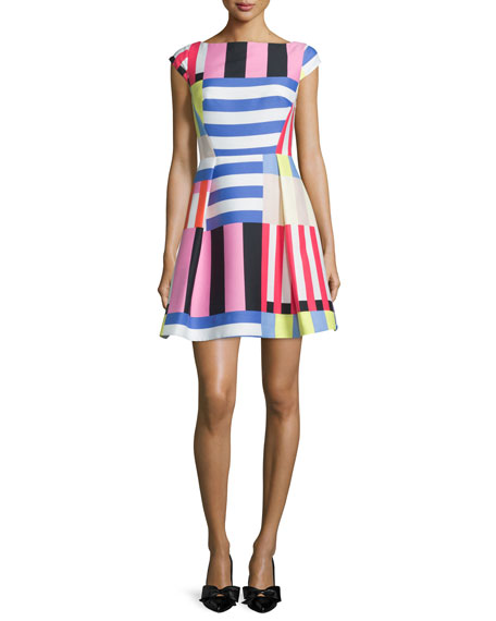 kate spade new york multi-striped fit-&-flare dress