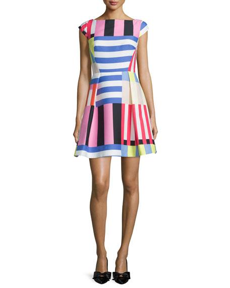 kate spade new york multi-striped fit-&-flare dress