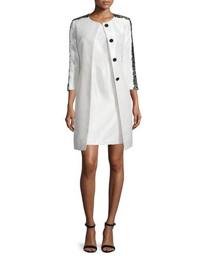 Lace-Trim Jacket & Sheath Dress Set