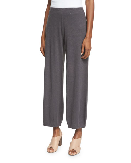 Eileen Fisher Lantern Wide-Leg Ankle Pants, Bark