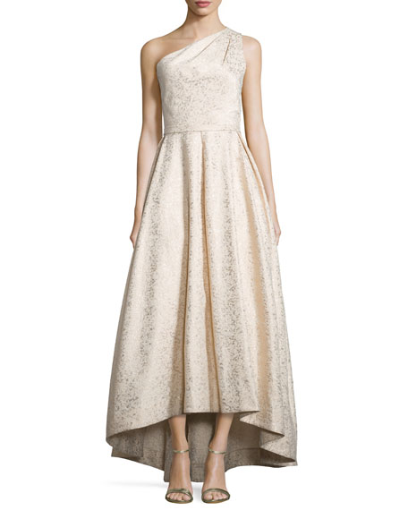 ML Monique Lhuillier One-Shoulder Metallic Ball Gown