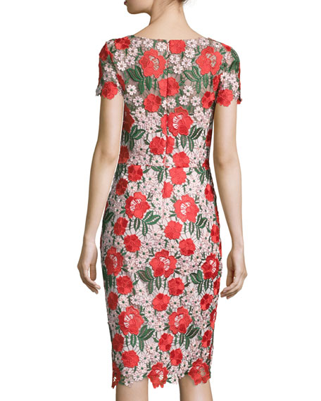 David meister floral embroidered lace sheath cocktail dress