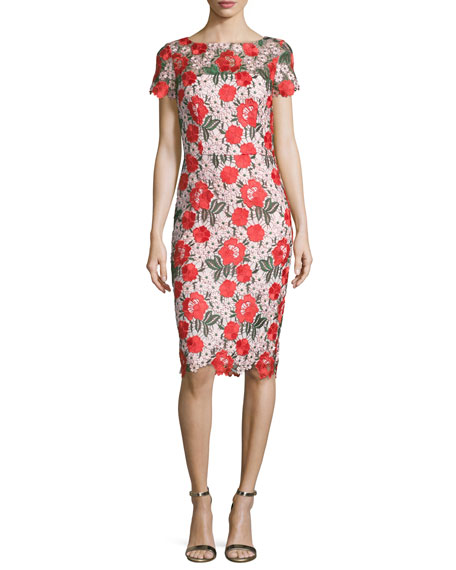 David meister floral embroidered lace sheath cocktail