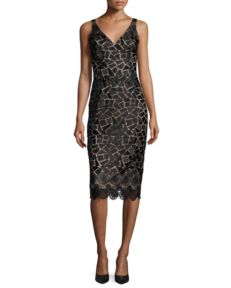 David Meister Sleeveless Embroidered Cocktail Dress, Black/Taupe