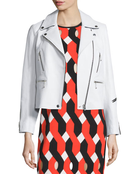 Rag & Bone Arrow Leather Zip-Trim Jacket, White